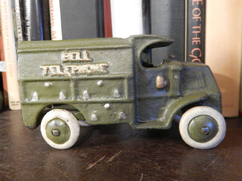 Cast Iron Figurine - Hubley Green Telephone Truck Toy