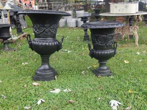 Urns Cast Iron -Pair Short Black Lion Handle