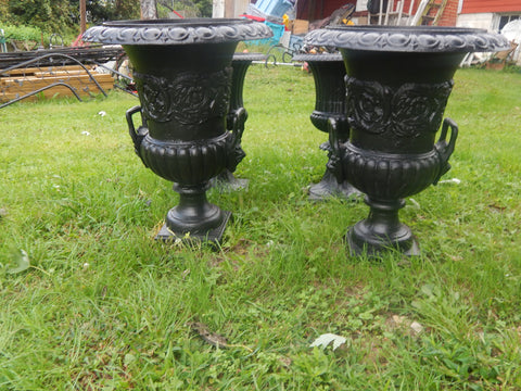Urns Cast Iron -Pair Tall Black Lion Handle