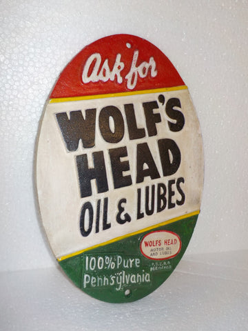 "Cast Iron Sign - Automotive ""WOLF'S HEAD OIL&LUBE 100% PENNSYLVANIA MOTOR OIL"""