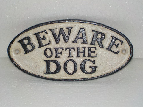 "Cast Iron Sign - ""BEWARE OF DOG"""