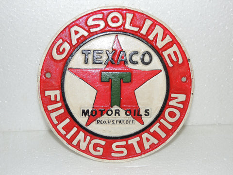 "Cast Iron Sign - ""TEXACO Motor Oils GASOLINE FILLING STATION"""