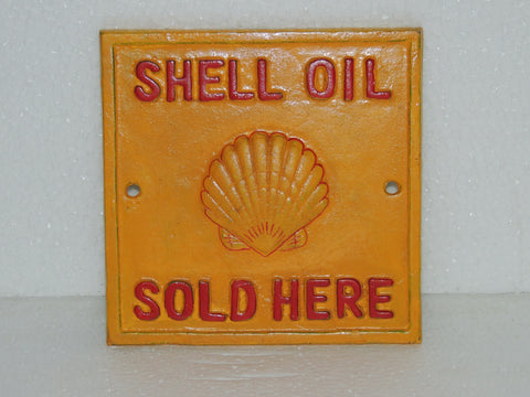 "Cast Iron Sign - Square ""SHELL OIL SOLD HERE"""