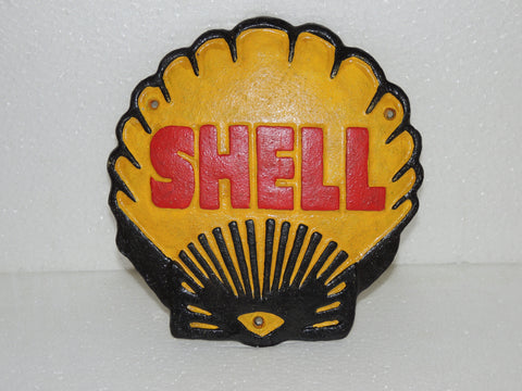 "Cast Iron Sign - Sea Shell ""SHELL Motor Oil Gasoline"""
