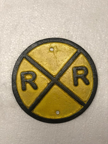 Railroad crossing cast iron sign