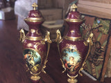 Red French Serves porcelain and bronze urns