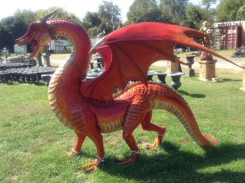 Statue - Life Size Red Dragon