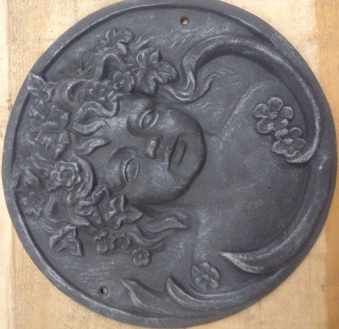 Cast Iron Sign - Floral Cherub