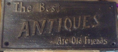 "Cast Iron Sign - ""The Best Antiques"""