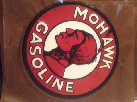 Flat Tin Sign - Round Mohawk Gasoline