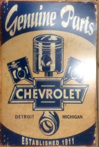 "Flat Tin Sign - Chevrolet ""Genuine Parts"""