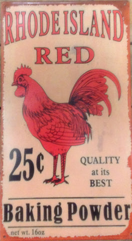 "Flat Tin Sign - Rhode Island Red ""Baking Powder"""