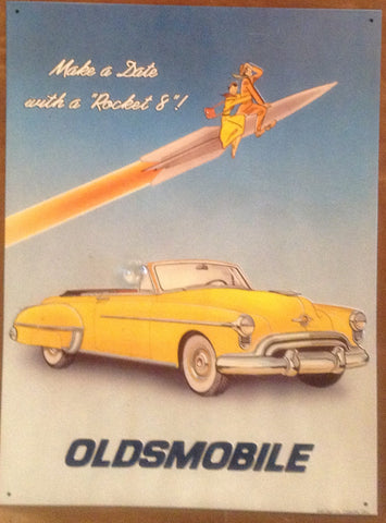 "Flat Tin Sign - ""OLDSMOBILE"""