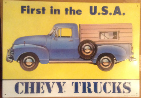 "Flat Tin Sign - First in U.S.A ""Chevy Truck"""