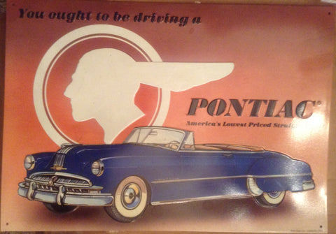 "Flat Tin Sign - ""PONTIAC"""