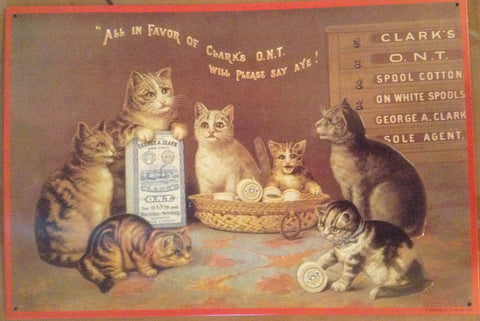 Flat Tin Sign - Vintage Cat