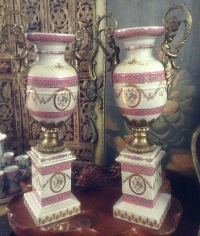 Sevres Porcelain - Pink Pair French Urn Style Vase w/ Gilded Cherub