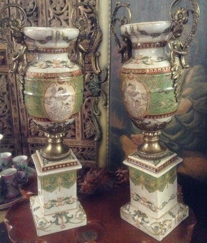 Sevres Porcelain - Green Pair French Urn Style Vase w/ Gilded Cherub