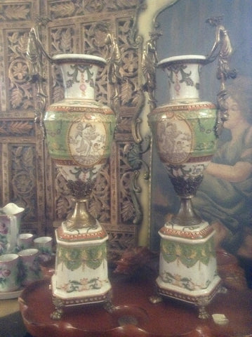 Sevres Porcelain - Green Pair French Urn Style Vase w/ Gilded Ormolu Lady
