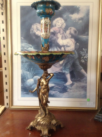 Sevres Porcelain - Blue French Style Fountain Dish w/ Gilt Bronze Ormolu Lady