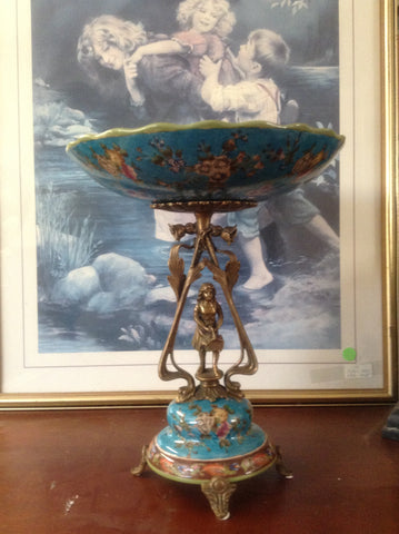 Sevres Porcelain - Blue French Style Dish w/ Gilt Bronze Lady with basket
