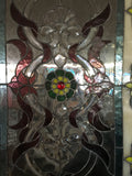 Glass Window - Stained Leaded Wood Frame Ornate Design w/Yellow Flowers