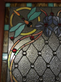 Glass Window - Stained Leaded Wood Frame Dragonfly Design