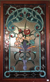 Glass Window Stained Leaded Wood Frame Red Rose and Flowers in Purple Vase