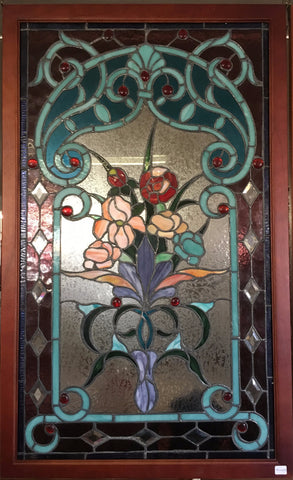 Glass Window - Stained Leaded Wood Frame Red Rose and Flowers in Purple Vase