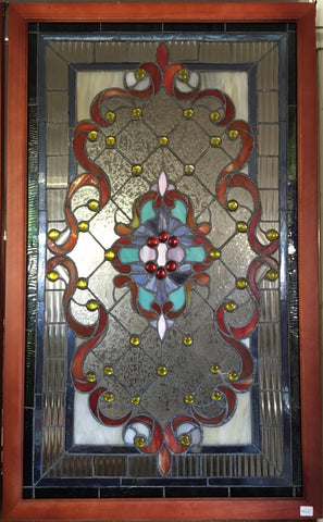Glass Window - Stained Leaded Wood Frame Ornate Design w/Orange Ribbon