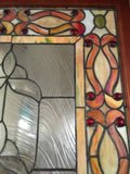 Glass Window - Stained Leaded Wood Frame Orange and Clear Geometric Design