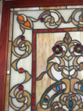 Glass Window -Stained Leaded Wood Frame Decorative Tiffany Style Design