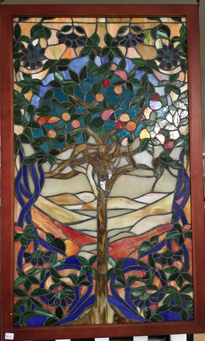 Glass Window Stained Leaded Wood Frame Tree Of Life Jantiques Llc