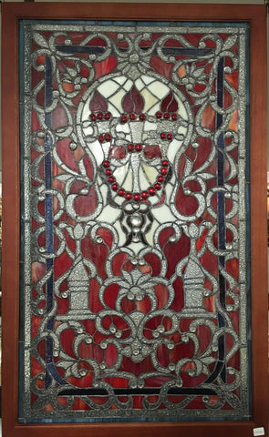 Glass Window Stained Leaded Wood Frame 3 Torch Design