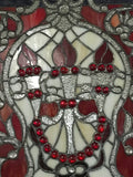 Glass Window - Stained Leaded Wood Frame 3 Torch Design