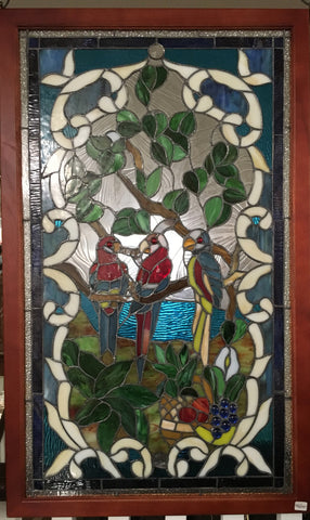Glass Window Stained Leaded Wood Frame 3 Parrots on Tree
