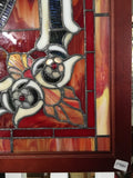 Glass Window - Stained Leaded Wood Frame Urn W/Flowers and Red Border Design