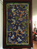 Glass Window - Stained Leaded Wood Frame Purple Background w/Butterflies