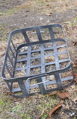 Metal Tin - Large Galvanized Metal Rectangular Basket with Handles