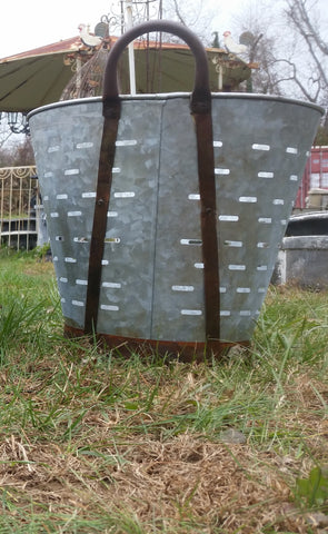 Metal Tin - Large Galvanized Metal Olive Bucket with Handles
