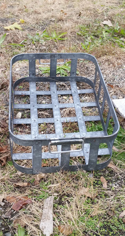 Metal Tin - Medium Galvanized Metal Rectangular Basket with Handles
