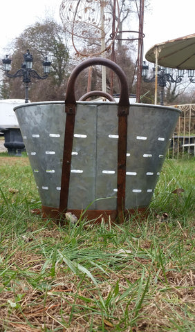 Metal Tin - Medium Galvanized Metal Olive Bucket with Handles