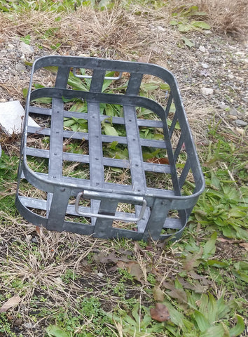 Metal Tin - Small Galvanized Metal Rectangular Basket with Handles