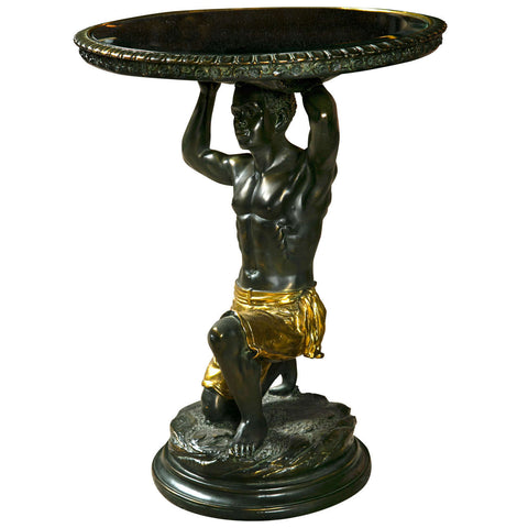 Mirror Top Table - Blackamoor Kneeling Nubian Man