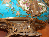 Sevres Porcelain - Blue French Style Bowl w/ Gilt Bronze Ormolu Cherub