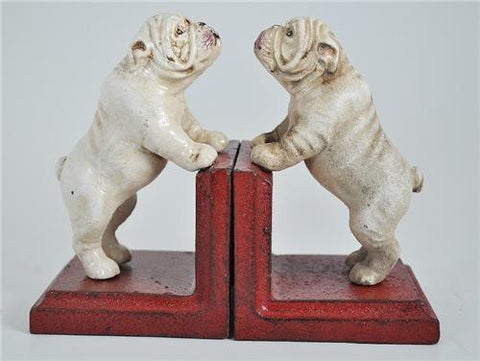 Bookends - Cast Iron Pair White Vintage Bulldog