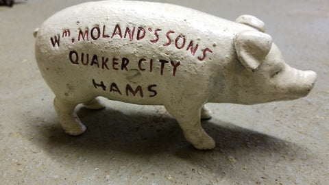 "Cast Iron Bank - ""Wm Moland's Sons Quaker City Hams"" Red Advertising"