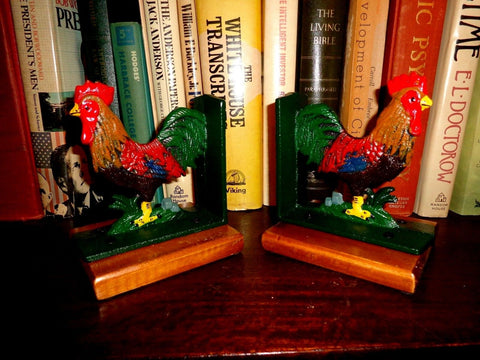 Book Ends - Cast Iron Rooster With Wooden Base