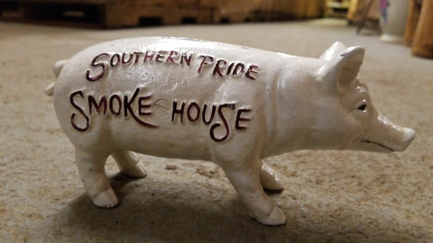 "Cast Iron Bank - ""Southern Pride SmokeHouse "" Advertising"