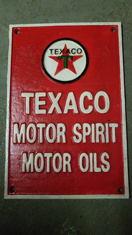 "Cast Iron Sign - ""TEXACO Motor Spirit Motor Oil"""